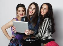 Girls friends taking selfie with digital tablet Royalty Free Stock Photo