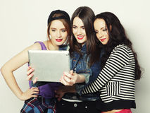 Girls friends taking selfie with digital tablet Stock Photography