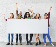 Girls Friendship Arms Raised Celebration Happiness Copy Space Ba Royalty Free Stock Photos