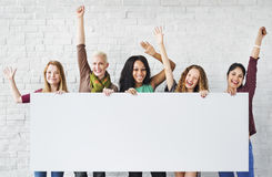 Girls Friendship Arms Raised Celebration Happiness Copy Space Ba Stock Image
