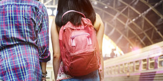 Girls Friendship Hangout Traveling Holiday Backpacker Concept Stock Image
