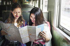 Girls Friendship Hangout Traveling Holiday Map Concept Royalty Free Stock Photos
