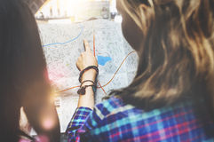 Girls Friendship Hangout Traveling Holiday Map Concept Stock Photos