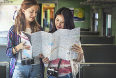 Girls Friendship Hangout Traveling Holiday Map Concept Stock Images