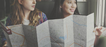 Girls Friendship Hangout Traveling Holiday Map Concept Royalty Free Stock Images