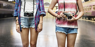 Girls Friendship Hangout Traveling Holiday Photography Concept Stock Image