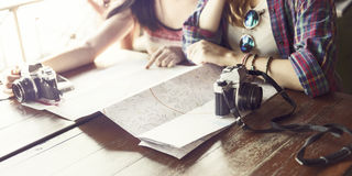 Girls Friendship Hangout Traveling Holiday Photography Concept royalty free stock images