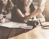 Girls Friendship Hangout Traveling Holiday Photography Concept stock photos