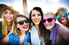 Girls Friendship Smiling Summer Vacations Together Concept Stock Photography