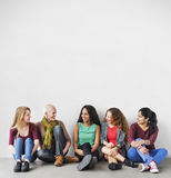 Girls Friendship Togetherness Talking Sitting Girlfriend Concept. Diverse Girls Friendship Togetherness Talking Sitting Girlfriend royalty free stock photos