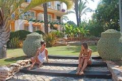 Girls in the garden. Royalty Free Stock Photos