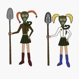 Girls in gas masks Royalty Free Stock Photography