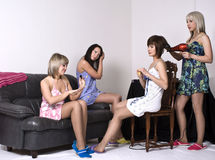 Girls gather at a party Royalty Free Stock Image
