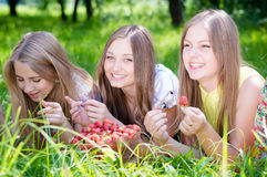Girls gathering strawberry on bright summer day Stock Photo