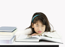 Girls get tired of studying Stock Image