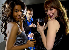 Girls getting attention at a nightclub Royalty Free Stock Photo