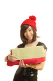 Girls gift. A girl holding a gift happy smile stock image