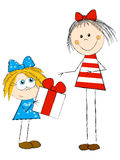 Girls with gift. On white background Royalty Free Stock Photos