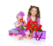 Girls and gift Royalty Free Stock Photos