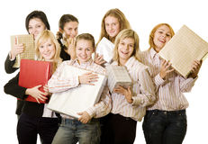 Girls and gifts Royalty Free Stock Photos