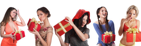 Girls with gifts Stock Photo