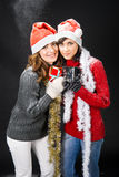 Girls with gifts Royalty Free Stock Image