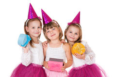 Girls with gifts Royalty Free Stock Images