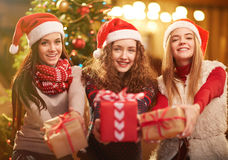 Girls with gifts Stock Photography