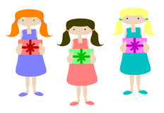 Girls with gifts set. Three girls carry gifts to your party Royalty Free Stock Photo