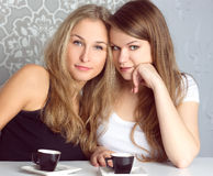 Girls girlfriends fissile secrets over coffee. Two girls girlfriends fissile secrets over coffee Royalty Free Stock Photo