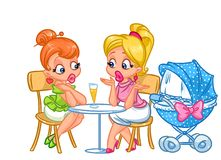 Girls girlfriends talking young mother Royalty Free Stock Photos