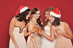 Girls with a glass of champagne meet new year Stock Image
