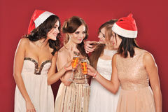 Girls with a glass of champagne meet new year Royalty Free Stock Photos
