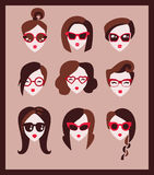 Girls in glasses. Collection of fashion girls in glasses Royalty Free Stock Images