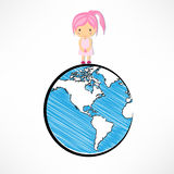 Girls and globe concept. Girls and globe of concept Stock Photos