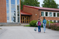 Girls Go To School Stock Images