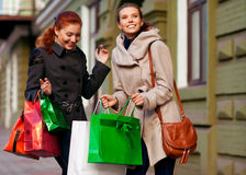 Girls go to shopping Stock Photography