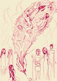 Girls and goddesses. Conceptual drawing. Girls and goddesses. Vintage sketch illustration Royalty Free Stock Photography
