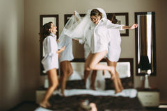 Girls are going crazy before wedding Stock Image