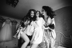 Girls are going crazy before wedding royalty free stock photography