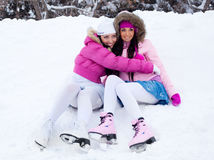 Girls going to ice skate Stock Images