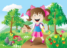 Girls are going to school. Girls are going to school With bright smile stock illustration