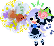 Girls and goldfish bowls. A cute little girl in a blue dress and a goldfish bow Stock Image
