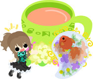 Girls and goldfish bowls. A cute little girl and a goldfish bowl Royalty Free Stock Photos
