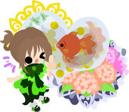 Girls and goldfish bowls. A cute little girl and a goldfish bowl Stock Photo