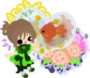 Girls and goldfish bowls Stock Photo