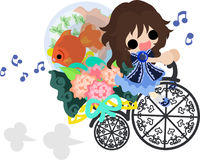 Girls and goldfish bowls. A cute little girl and a goldfish bowl and a bicycle Royalty Free Stock Images