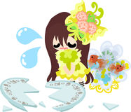 Girls and goldfish bowls. A cute little girl and a goldfish bowl and a broken dish Royalty Free Stock Image