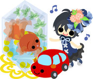 Girls and goldfish bowls. A cute little girl and a goldfish bowl and a car of toy Royalty Free Stock Images