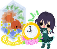 Girls and goldfish bowls. A cute little girl and a goldfish bowl and a clock Stock Photos